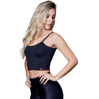 Cropped Feminino Fitness Poliéster Lú Preto