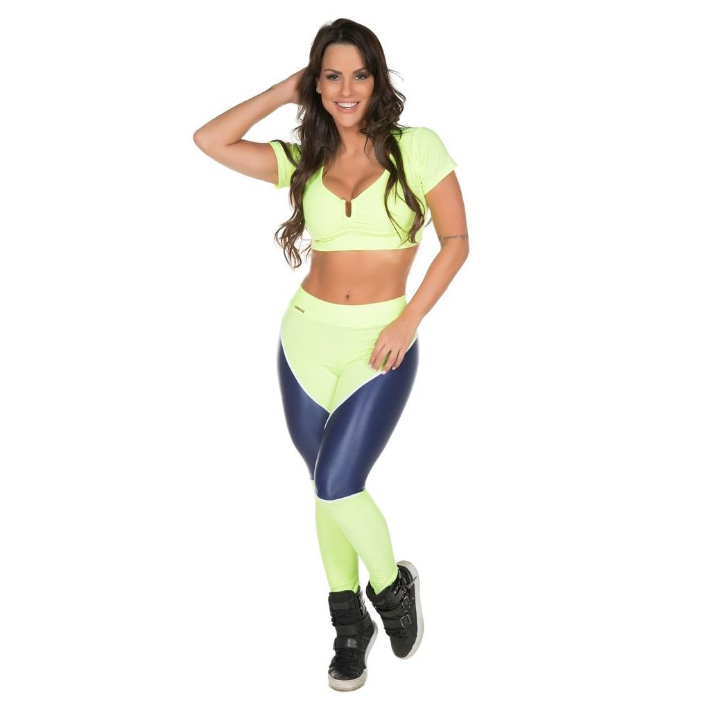 Cropped Training Limão Feminino Brasil Scissor Fit Fit Cropped Verde tw74qdtZvx