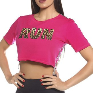 Cropped Fitness SSTYLE Estampa Run Feminino