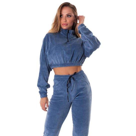 Cropped Let'sGym Plush Addiction - Azul