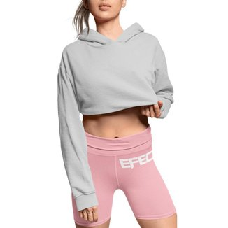 Cropped Moletom Manga Longa Feminino com capuz blusa para esporte ou casual