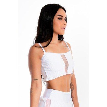 Cropped Top Alcinha Branco Detalhe Rosê Feminino