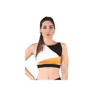 Cropped Top Fitness GR Esporte Detalhes Branco e Amarelo Feminino