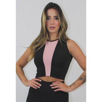 Cropped Top Fitness GR Esporte Longo com Rosê Feminino