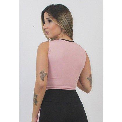 Cropped Top Fitness GR Esporte Rosê com Preto Feminino