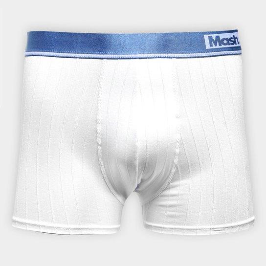 Cueca Boxer Mash Trabalhada Listras - Branco+Azul