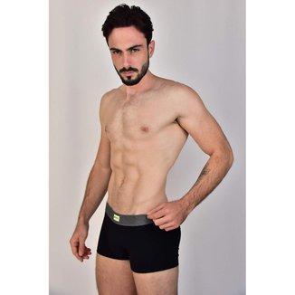 Cueca Boxer Preta Curta Cotton Elástico Mescla Etiqueta Frontal Garda Uomo