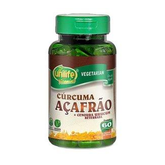 Cúrcuma Açafrão e Betacarotenos - 60 Cápsulas - Unilife