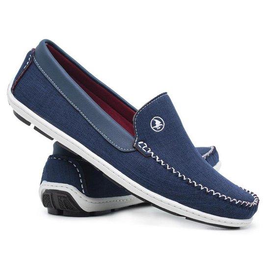 Dock Side Casual Solado Blaqueado Jeans Masculino - Azul Royal