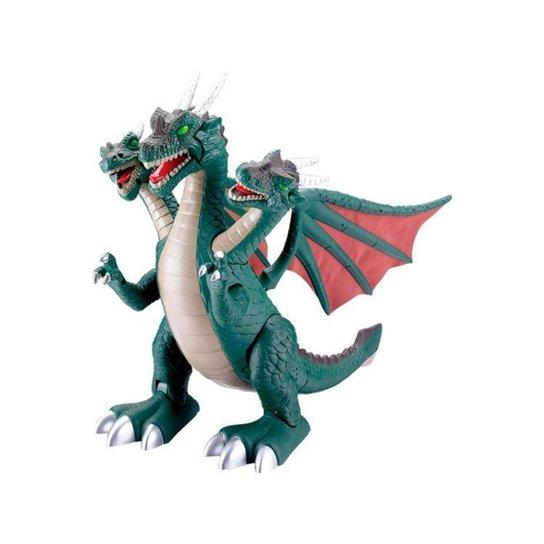 Dragão de Brinquedo 3 Cabeças - Verde