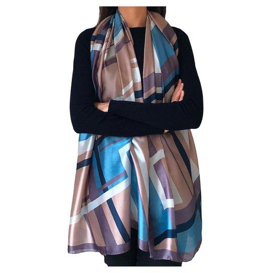 Echarpe Foulard Geometrico 90 x 180 cm - Azul