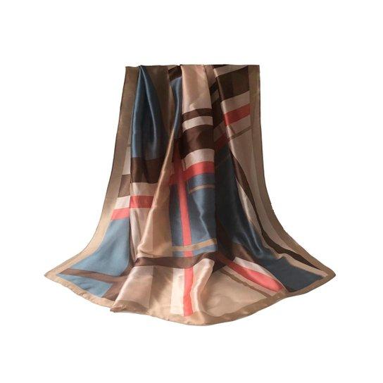 Echarpe Foulard Geometrico 90 x 180 cm - Marrom