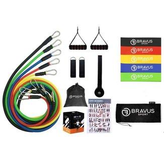 Elástico Bravus Sport Tubing Basic 11 Peças + 5 Mini Bands Funcional
