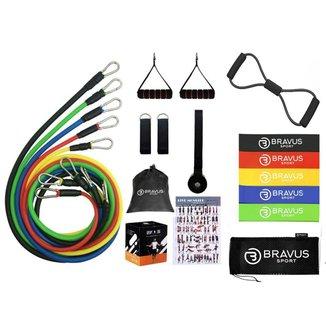 Elástico Extensor Tubing Basic 12 Peças e 5 Mini Bands Bravus Sport