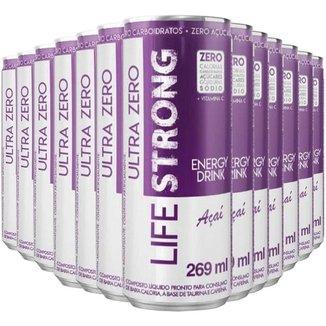 Energético Life Strong Energy Drink 12 unidades Sabor Açai