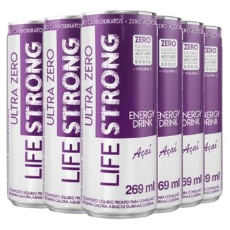 Energético Life Strong Energy Drink 6 unidades Sabor Açai