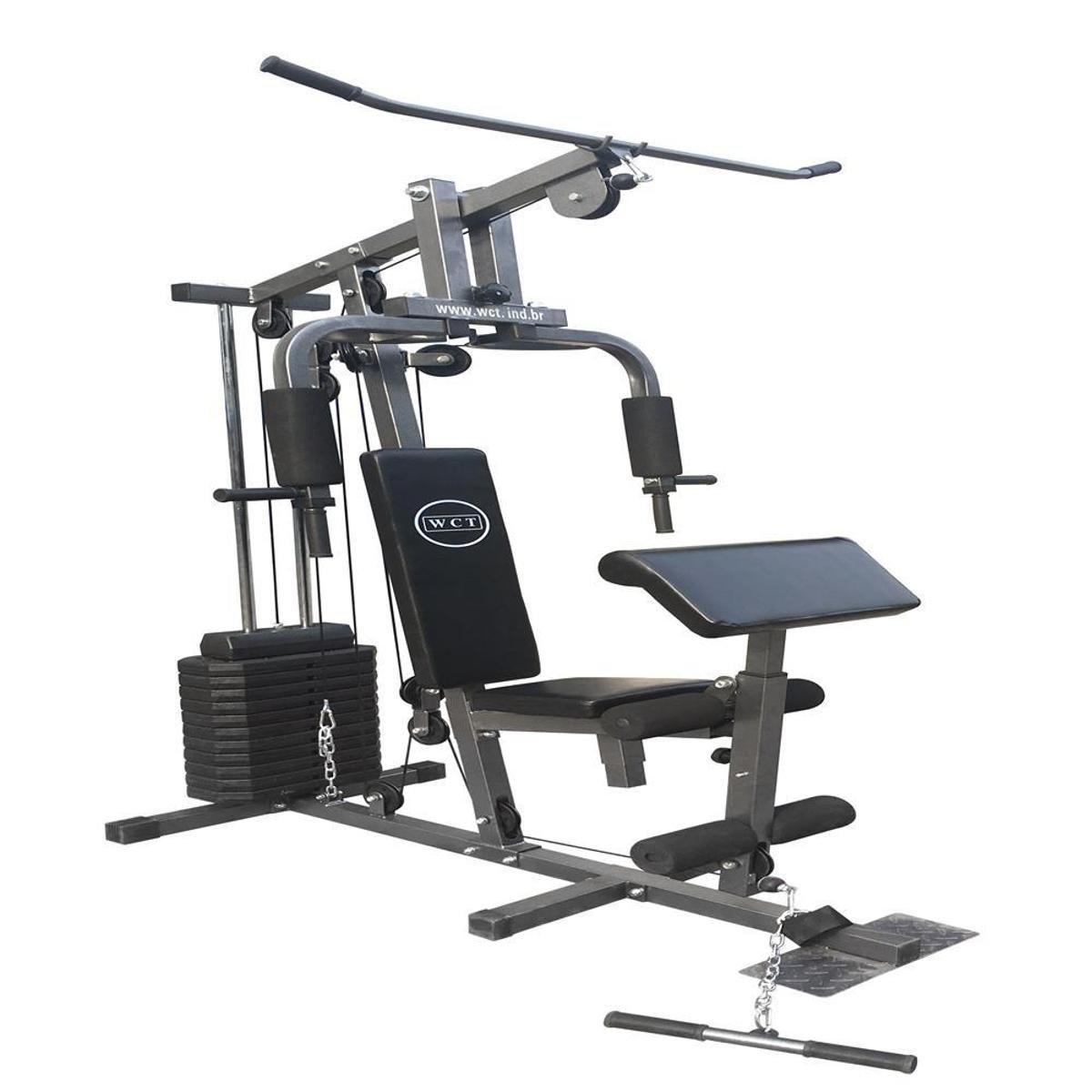 41b38f878c Estação De Musculação WCT Fitness 80kg - Preto e Cinza - Compre ...