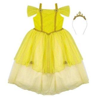 Fantasia Infantil Douvelin Princesa Amarela Com Tiara.