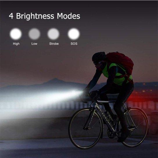 Farol De Bike Machfally em Aluminio Usb Recarregavel 180 Lumens - Cinza