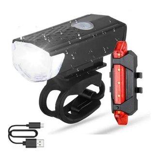 Farol Lanterna Led 4 Funções + Luz Led Traseira Recarregáveis Usb