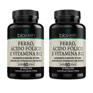 Ferro, Ácido Fólico e Vitamina B12 - 2 unidades de 60 Cápsulas - Bioklein