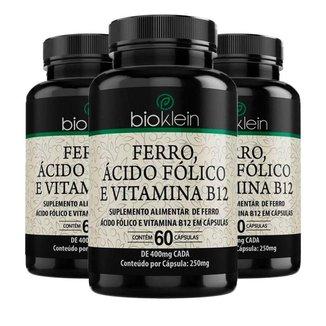 Ferro, Ácido Fólico e Vitamina B12 - 3 unidades de 60 Cápsulas - Bioklein