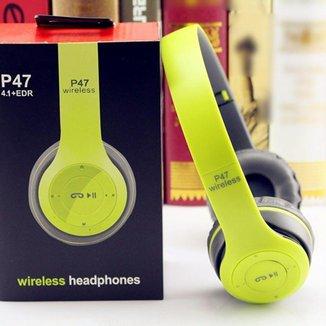 Fone De Ouvido Bluetooth P-47 Wireless Headphones Sem Fio Verde