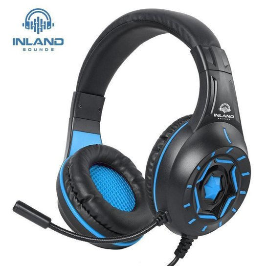 Fone De Ouvido Gamer Led Microfone Headphone Ps4 Xbox Pc Ps5 - Azul Turquesa