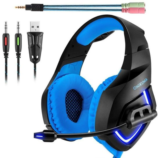 Fone De Ouvido Gamer Onikuma K1-b Blue - Preto+Azul