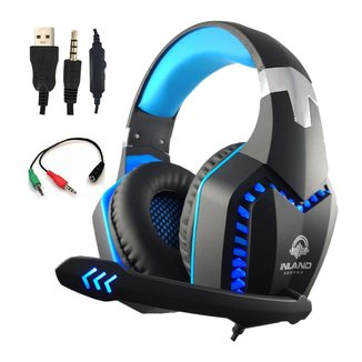 Fone de ouvido Headset Gamer Azul Preto LEd Microfone Compativel com Ps4/x-one PC