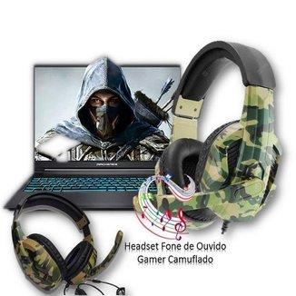 Fone de Ouvido Headset Gamer Jogos Camuflado Microfone