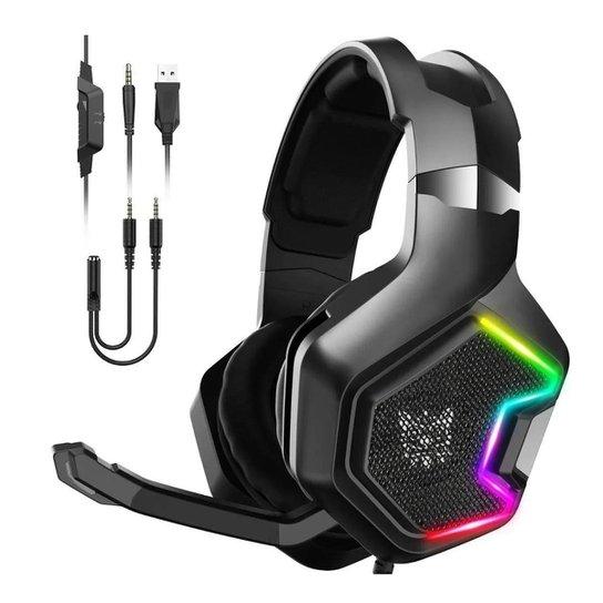 Fone de ouvido Headset Gamer Onikuma K10 Pro Microfone Ps4/X-one Celular PC - Vermelho+Verde