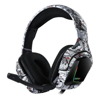 Fone de ouvido Headset Gamer Onikuma K20 Camuflado Branco Microfone Ps4/X-one Celular