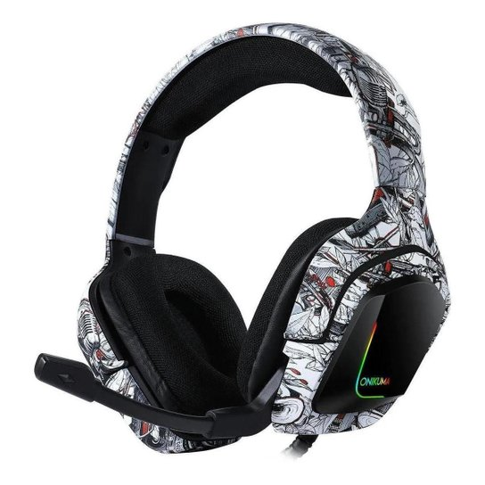 Fone de ouvido Headset Gamer Onikuma K20 Camuflado Branco Microfone Ps4/X-one Celular - Vermelho+Verde