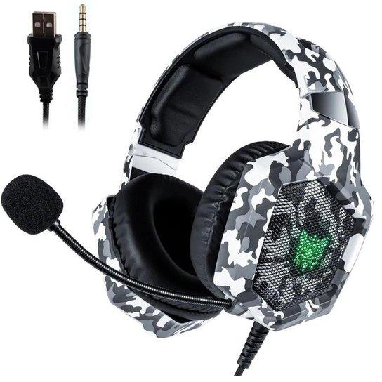 Fone de ouvido Headset Gamer Onikuma K8 Camo Branco Microfone Ps4/X-one Celular - Vermelho+Verde