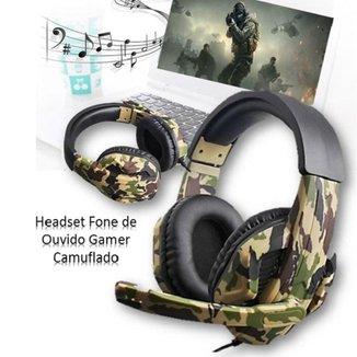 Fone de Ouvido Headset Microfone Gamer Camuflado
