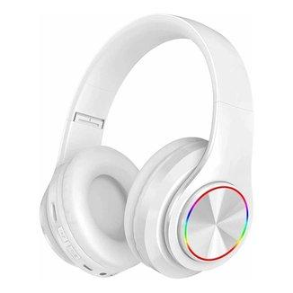 Fone Headset Sem Fio 5.0 Com Led Dobravel Branco