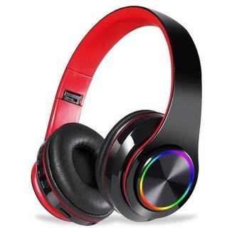 Fone Headset Sem Fio 5.0 Com Led Dobrável Vermelho