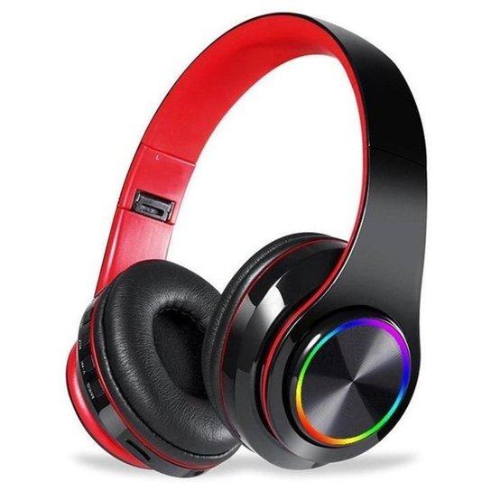Fone Headset Sem Fio 5.0 Com Led Dobrável Vermelho - Vermelho