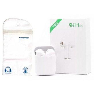Fone Ouvido Bluetooth I11 5.0 Par Tws Sem Fio Case Base Cx + Saco A Prova D'Água