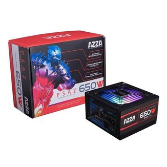 Fonte Gamer AZZA 650W RGB 80 PLUS Bronze PFC ATIVO PSAZ-650W-ARGB
