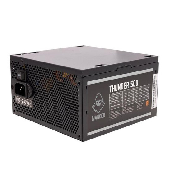 Fonte Mancer Thunder 500W Bronze 80 Plus, MCR-THR500-BL01 - Preto