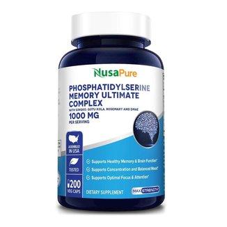 Fosfatidilserina (Phosphatidylserine) 1000mg - Nusapure (200 cápsulas veg)