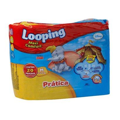 Fralda Descartável Looping Disney Maxi fort Prática Média 20 Unidades - Unissex -