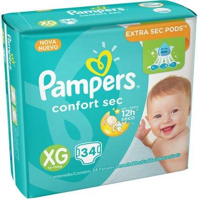 Fralda Descartável Pampers Confort Sec XG 34 Unidades - Unissex -