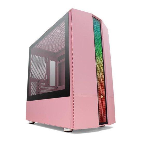Gabinete Gamer Pichau Carrier II Lateral Vidro Temp RGB - Rosa