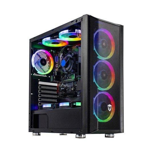 Gabinete gamer Sate 8 coolers Fans RGB Preto com Lateral em Acrílico K381 - Preto