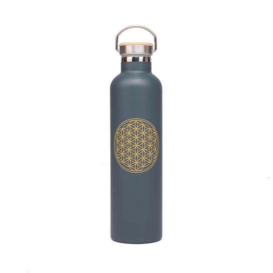 Garrafa Flora da Vida 1L, isolamento térmico, aço inoxidável, à prova de riscos e vazamentos - Grafite