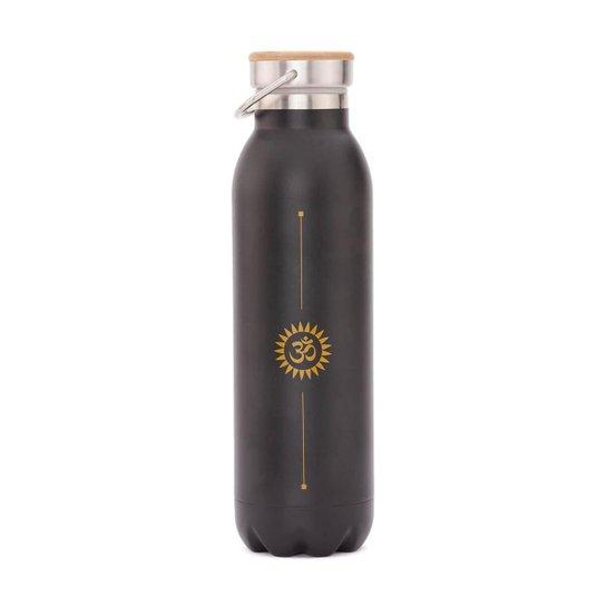 Garrafa Premium inox, 100% vedada, 600 ml, isolamento térmico,  à prova de riscos e vazamentos - Preto