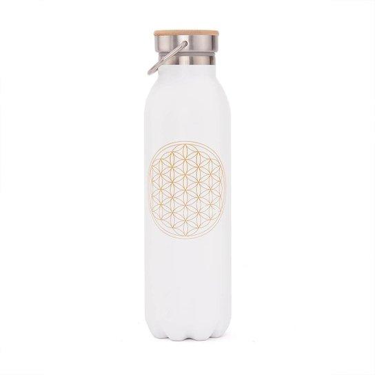 Garrafa Premium inox, 100% vedada, 600 ml, isolamento térmico,  à prova de riscos e vazamentos - Branco